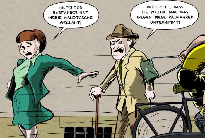 Rücksichtslose Radfahrer, rücksichtslose